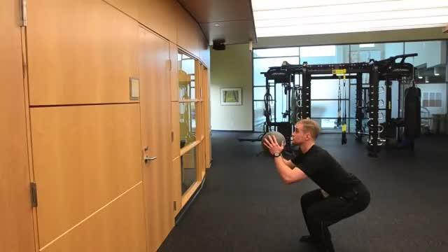 Male Medicine Ball Squat Throw demonstration