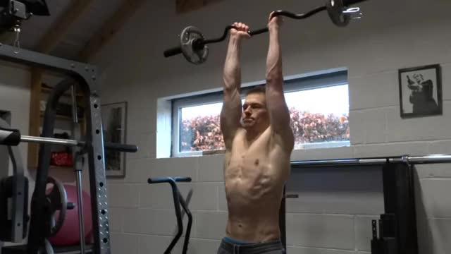 EZ-Bar Standing Overhead Triceps Extension demonstration