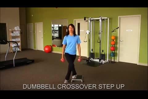Female Crossover Dumbbell Step-Up demonstration