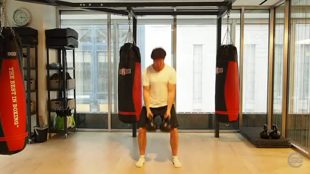 Strict Double Kettlebell Clean demonstration