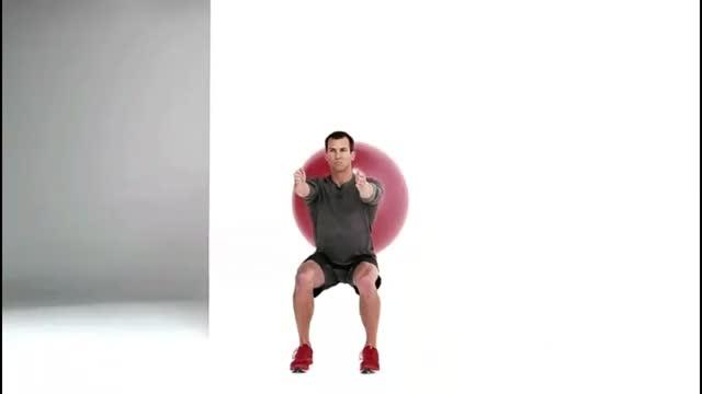 Swiss Ball Bodyweight Wall Squat demonstration