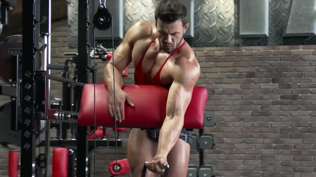 Male Cable One Arm Standing Preacher Curl demonstration