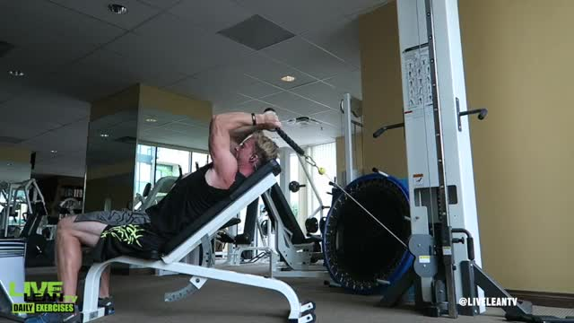Male Cable Incline Triceps Extension demonstration