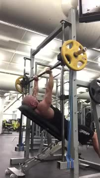 Male Smith Machine Incline Tricep Extension demonstration