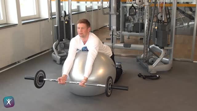 Male Exercise Ball Preacher Curl demonstration