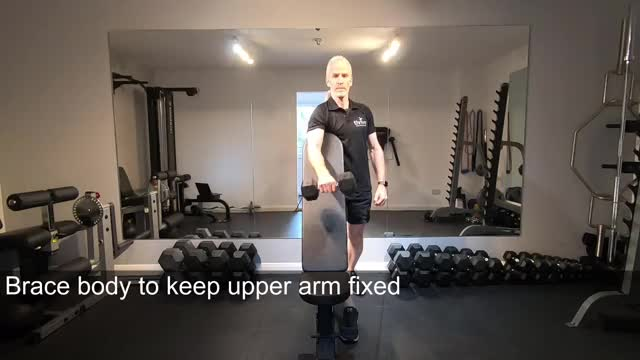 One Arm Reverse Dumbbell Preacher Curl demonstration