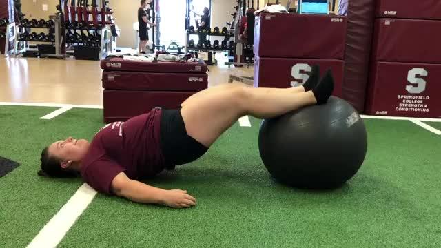 Female 2 to 1 Exercise Ball Hamstring Curl (SHELC) demonstration