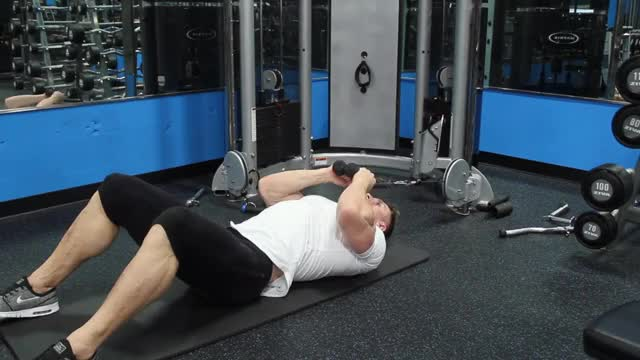 Male Lying On Floor Tricep Extension (rope extension) demonstration