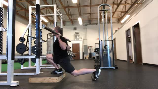 Elevated Front-Foot Barbell Split Squat demonstration