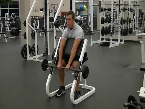 Barbell Standing Reverse Preacher Curl demonstration