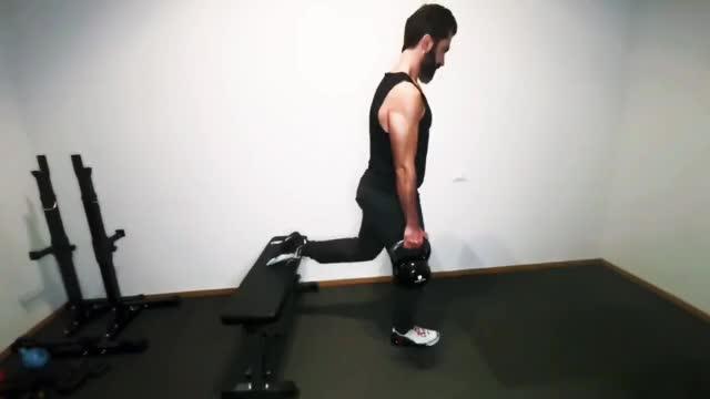 Double Kettlebell Split Squat demonstration
