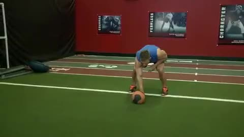 Chest Push from 3 point stance demonstration