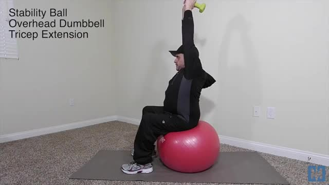 Male Exercise Ball Two Arm Dumbbell Extension demonstration