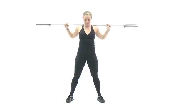 Female Standing Barbell Twist demonstration