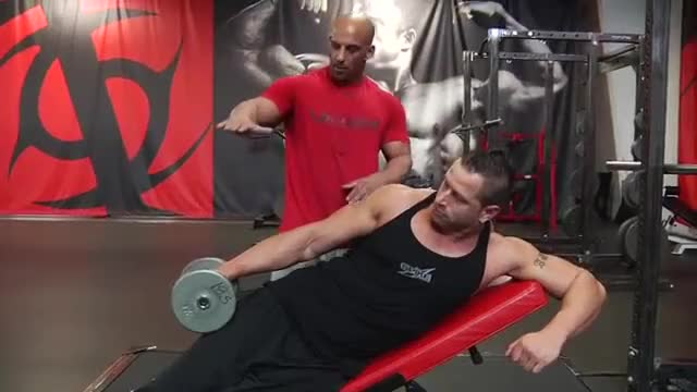 Male Dumbbell Incline Lateral Raise demonstration