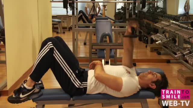 One Arm Lying Pronated Dumbbell Triceps Extension demonstration