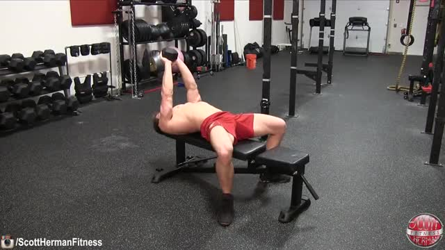 Male Dumbbell Pullover (on apparatus) demonstration