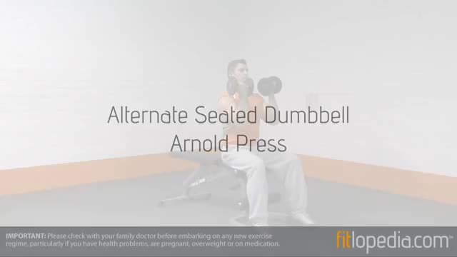 Male Alternate Seated Arnold Press demonstration