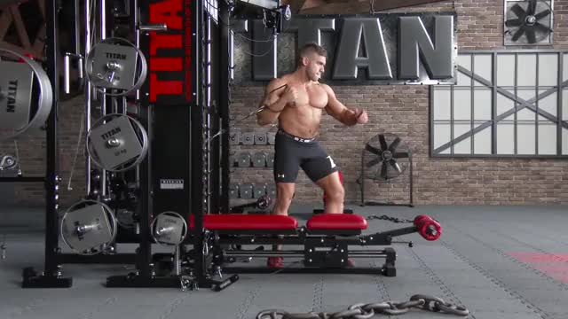 Male Cable Twisting Chest Press demonstration
