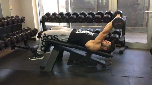 Decline EZ Bar Triceps Extension demonstration
