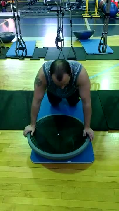 Suspension BOSU Oblique Atomic Push Ups demonstration