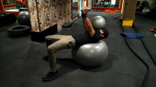 Male Dumbbell Russian Twist (on stability ball) demonstration