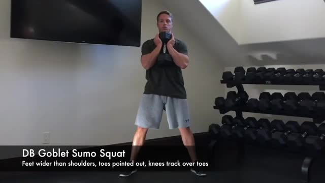 Wide-Stance Goblet Squat demonstration