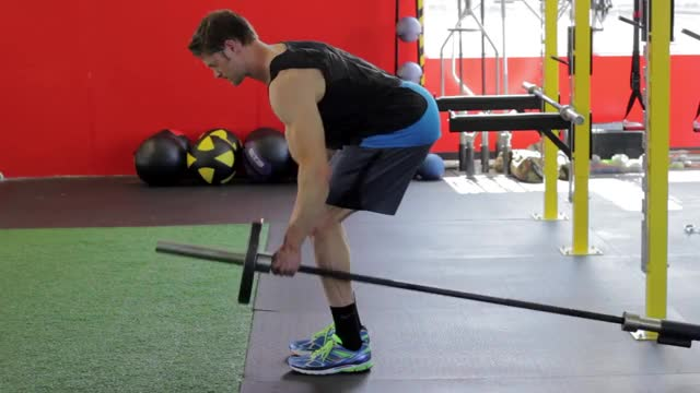 Bent Over One-Arm Long Bar Row demonstration