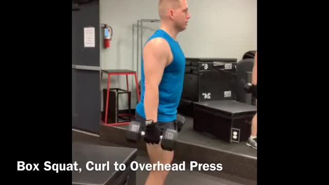 Dumbbell Box Squat, Curl to Overhead Press demonstration