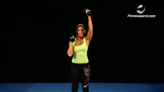 Female Standing Neutral Grip Alternating Dumbbell Press demonstration