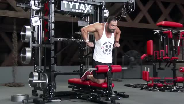 Male Lever Triceps Dip demonstration
