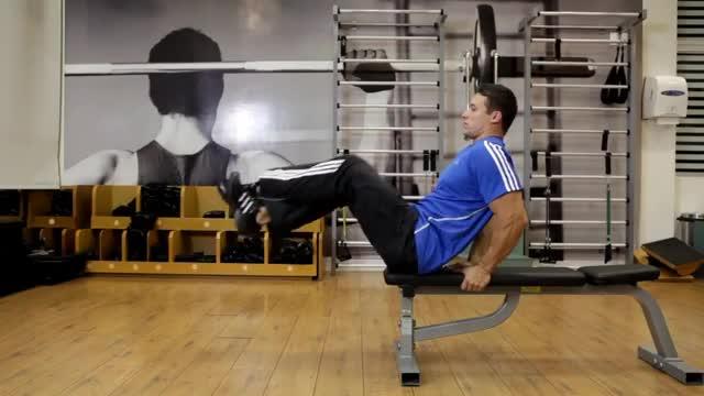 Flat Bench Leg Pull-In demonstration