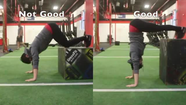 Male Modified Handstand Push Up (Off Box) demonstration