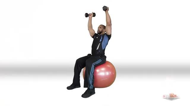 Swiss Ball Dumbbell Shoulder Press demonstration