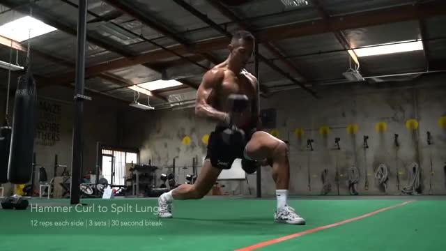 Hammer Curl to Jumping Split Lunge demonstration