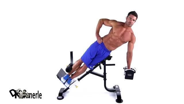 Male Dumbbell 45 Degree Side Bend demonstration