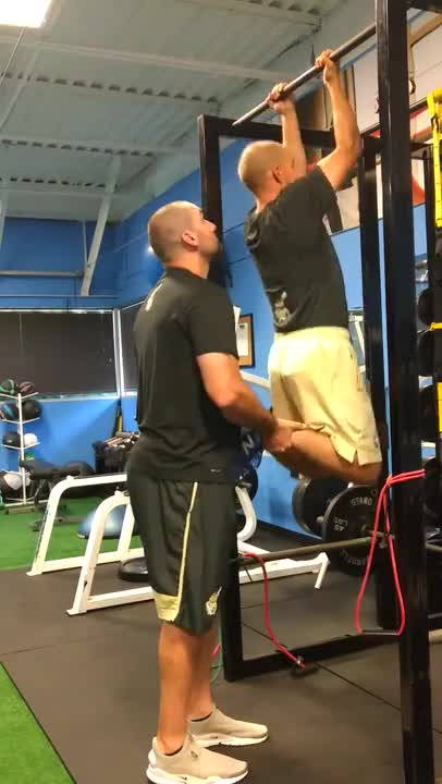 Male Partner-assisted Chin-up demonstration