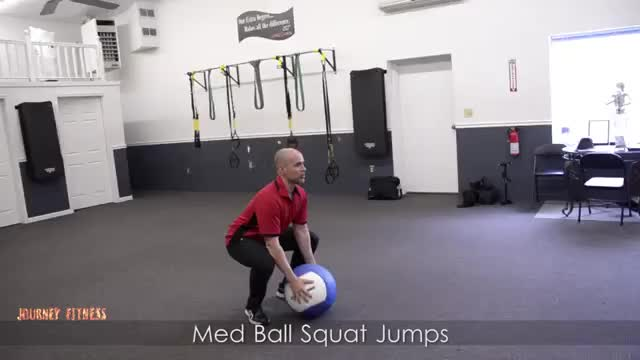 Male Medicine Ball Squat Jump demonstration