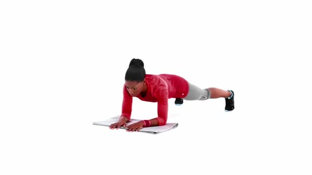 Wide-Stance Plank with Diagonal Arm Lift demonstration