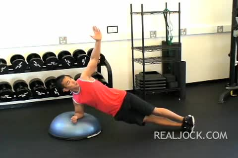 Side Plank with Elbow on Bosu Ball demonstration