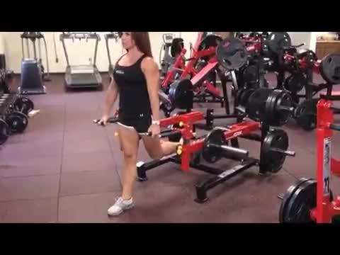 Female Lever Straight Leg Deadlift (plate loaded) demonstration