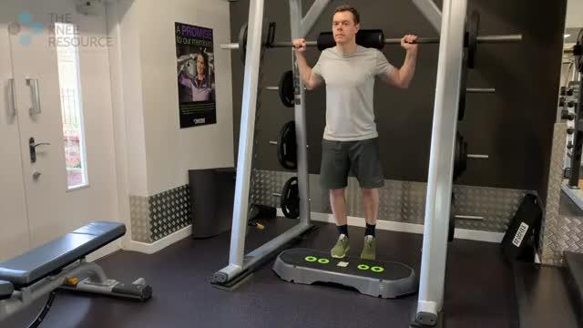Male Smith Machine One Leg Calf Raise demonstration