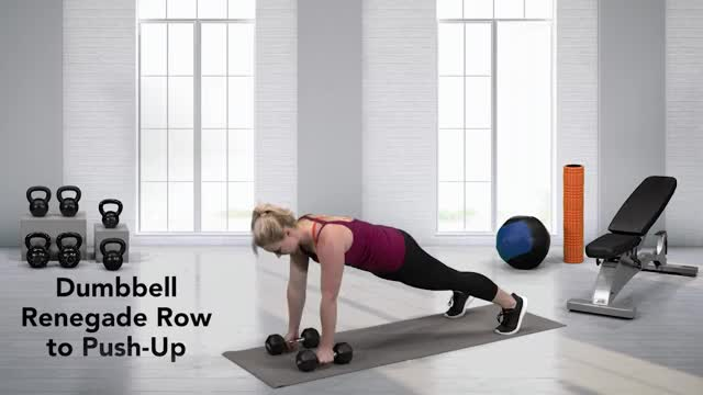 Female Pushup Renegade Row with Dumbbell demonstration