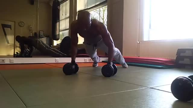 Male Pushup Renegade Row with Dumbbell demonstration