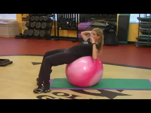 Female Ball Crunch (on stability ball) demonstration