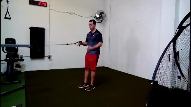 Male Cable Lunge and Row demonstration