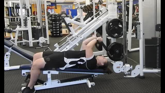 Female Cable Decline Triceps Extension demonstration