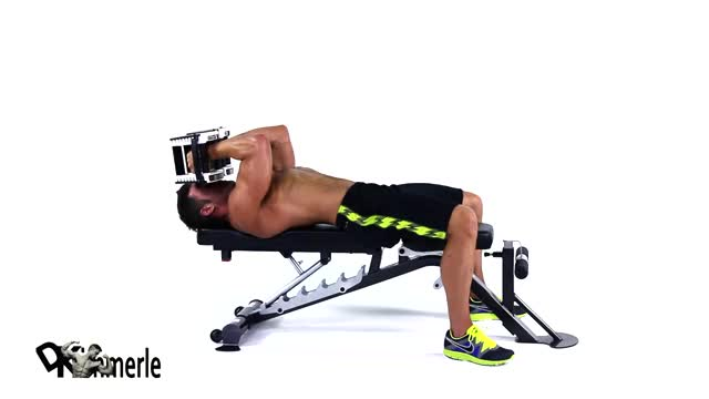 Male Dumbbell Lying Triceps Extension demonstration