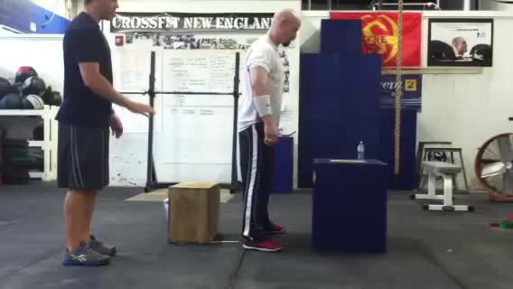 Male Box Squat Box Jump demonstration