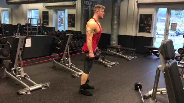 Male Dumbbell Deadlift With Banded Hip demonstration